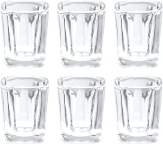 Thirsty Rhino Keras, Square 2 oz Shot Glass with Heavy Base, Clear Glass, Set of 6