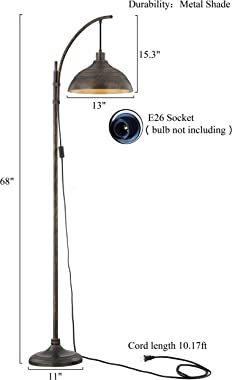 WOXXX Industrial Floor Lamp Modern Rustic Task Floor Lamp in Aged Bronze Finish, Standing Lamp Farmhouse arc Floor Lamps for