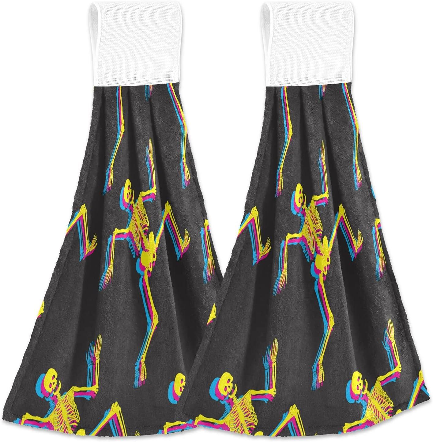 Dancing Skeletons Pattern Hanging Kitchen Towels Bathroom 25% OFF Hand Super Special SALE held T
