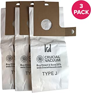 Crucial Vacuum Replacement Style J Bags Part # 61515C - Compatible with Eureka Vacuums and Models 2270, 2271, 2272, 2273, 2275, 2900, 2901, 2903, 2904, 2905, 2920, 2924, 2926 - Bulk (3 Pack)