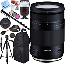 Tamron AFB028C-700 18-400mm f/3.5-6.3 Di II VC HLD All-in-One Zoom Lens for Canon Mount Bundle with Automatic Flash, 72-Inch Monopod, 72mm Filter Kit, Backpack, Paintshop Pro and 60 inch Tripod