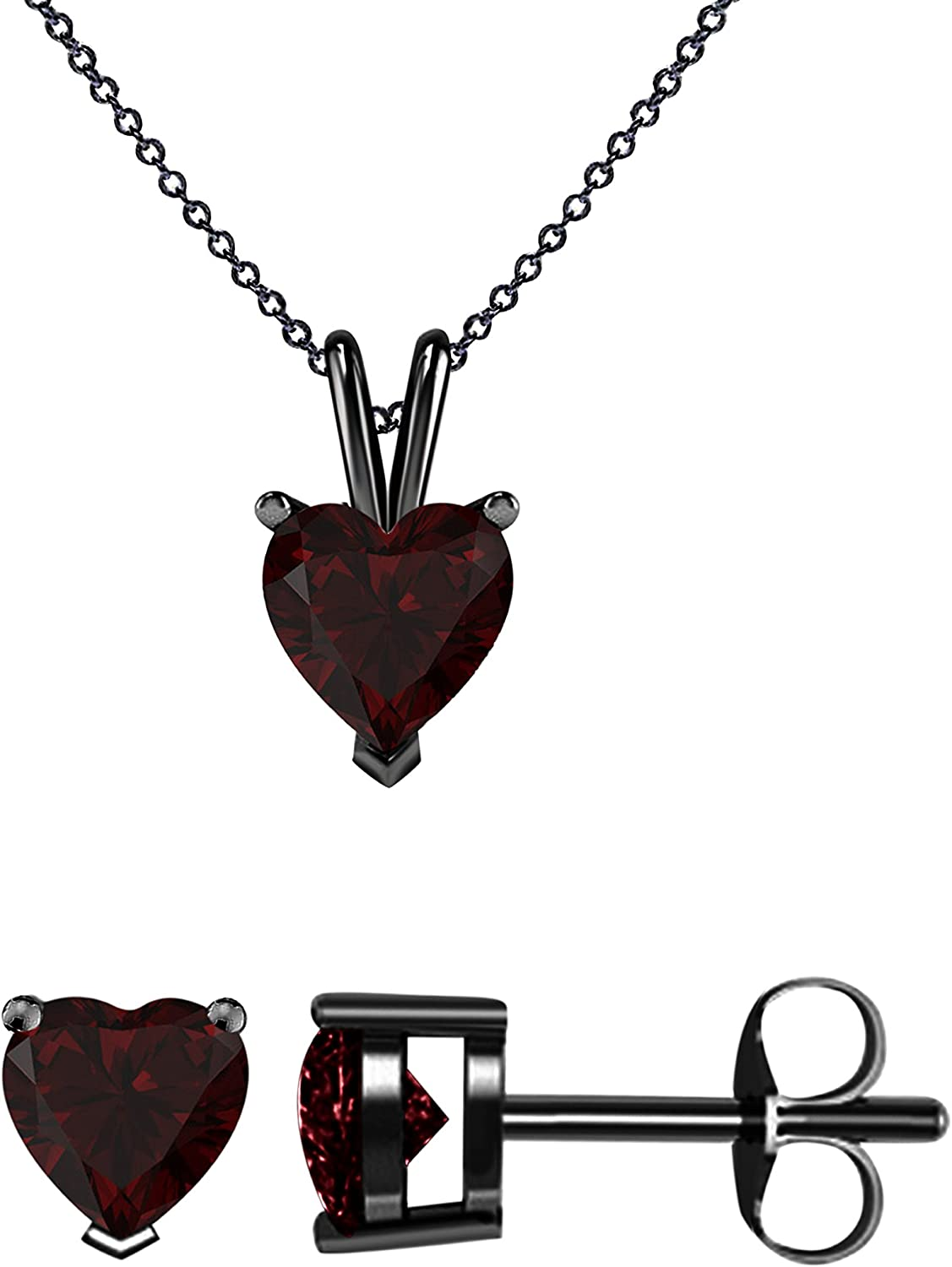 Be super welcome 14K Gold Plated 925 Sterling Silver 6 Garnet Earring Heart CZ Lowest price challenge MM