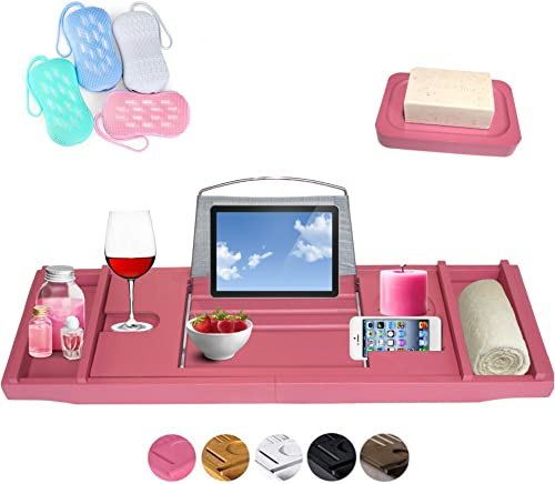Pink Bath Caddy Tray Australian - Premium Expandable Bathtub Caddy Bridge for Over the Hot Tub - Wine Glass Holder, B...