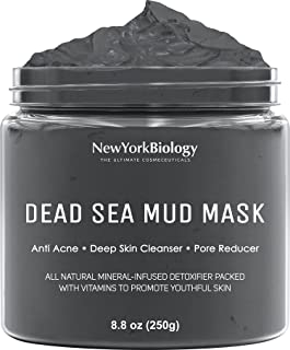 New York Biology Dead Sea Mud Mask for Face and Body - All Natural - Spa Quality Pore Reducer for Acne, Blackheads and Oil...