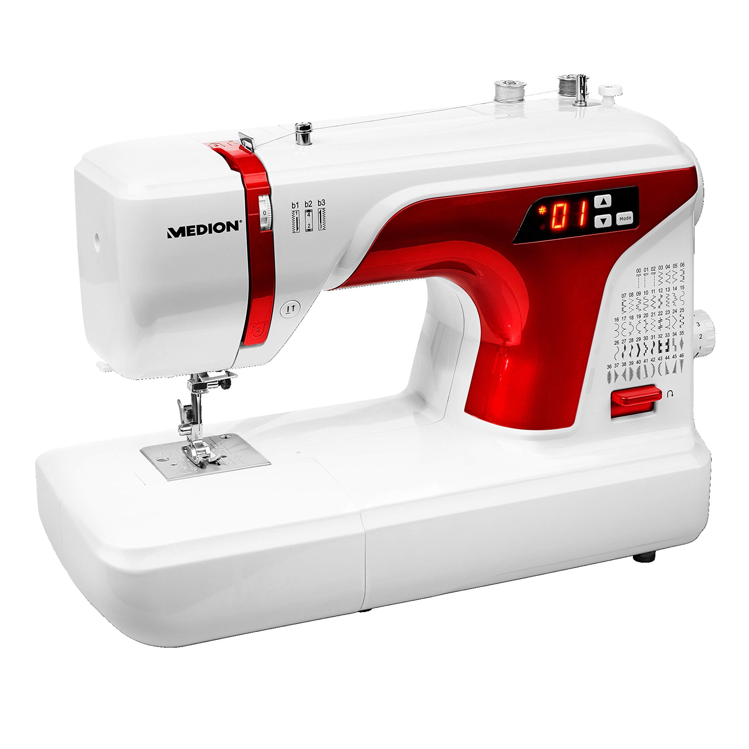 MEDION MD 16661 - Máquina de coser digital, ojal automático, 40 vatios, pantalla LED, 50 patrones de puntada diferentes, luz de costura LED, accesorios extensos, Blanco: Amazon.es: Hogar