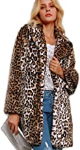Women Warm Long Sleeve Parka Faux Fur Coat Overcoat Leopard Fluffy Top Jacket