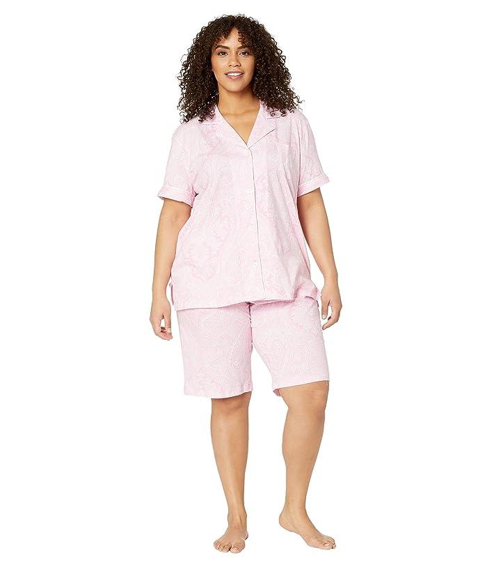 LAUREN Ralph Lauren  Plus Size Short Sleeve Notch Collar Bermuda Shorts PJ Set (Pink Paisley) Womens Pajama Sets