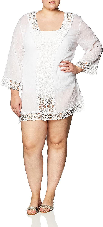 La Blanca Women's Plus Size Lace V-Neck Tunic Dress