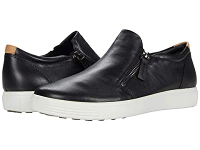 ECCO Soft 7 Side-Zip Sneaker (Black Cow Leather) Women