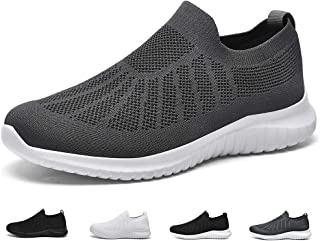 poemlady Men's Slip on Walking Sneakers - Comfortable Breathable Casual Mesh Work Shoes