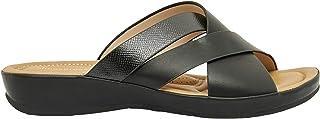 Shoexpress Cross Strap Slip-On Slide Sandals with Wedge Heels
