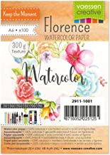 Vaessen Creative Florence Watercolour Paper A6, Ivory, 300 GSM, Artist Grade Quality, Textured Surface, 100 Sheets for Pai...