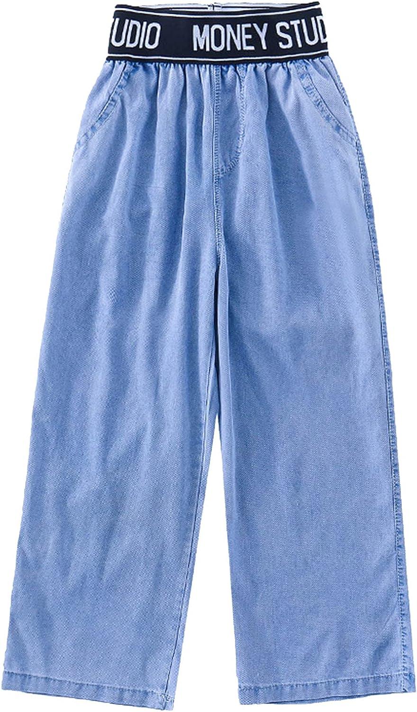FEESHOW Big Kids Girls Summer High Letters Translated Sale Jeans Waist Wide Leg