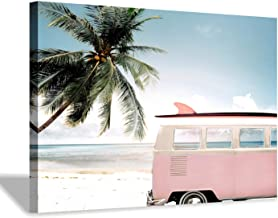 Beach Picture Coastal Wall Art: Pink Car with Surfboard Artwork Seaside Palm Painting Print on Canvas for Living Room (36'...
