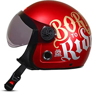 ACTIVE JET BORN TO RIDE Open Face Helmet (RED MATT) (RED)