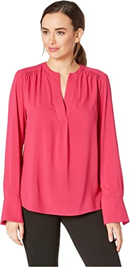 Solid Long Sleeve Woven Top