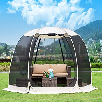 Leedor Gazebos for Patios Screen House Room 4-6 Person Canopy Mosquito Net Camping Tent Dining Pop Up Sun Shade Shelter Mesh Walls Not Waterproof Beige,10'x10'
