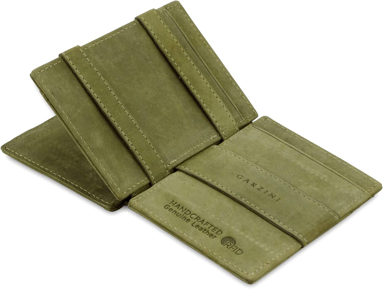 Garzini Spacious Magic Wallet with ID Window, Wallet with RFID card holder, Leather Wallet for 14 cards, Olive Green