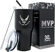 30 oz USAF Black Double Wall Vacuum Insulated Stainless Steel Air Force Tumbler Travel Mug-Leakproof Lid-Steel Straw