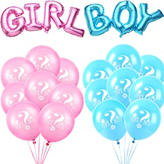 meekoo 18 Pieces Gender Reveal Balloons Boy or Girl Letter Balloon Latex Balloons Foil Balloons for Baby Shower Themed Party Decorations