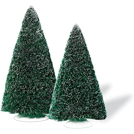 Amazon Com Department 56 Accessories For Villages Large Frosted Sisal Trees Accessory Figurine Set Of 2 Home Kitchen