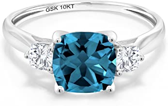 Gem Stone King 10K White Gold Solitaire w/Accent Stones Ring Cushion London Blue Topaz and Timeless Brilliant Created Moissanite (IJK) 0.26ct (DEW) (Available 5,6,7,8,9)