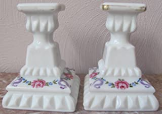 Candle Stick Holders - Westmoreland Milk Glass Handpainted Roses Bows - Original