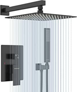 EMBATHER Black Shower System 12 Inch Mount Shower Faucet Set with Square Rain Shower Head and Handheld,Matte Black Combo Set for Bathroom(Rough-in Valve Body and Trim included)
