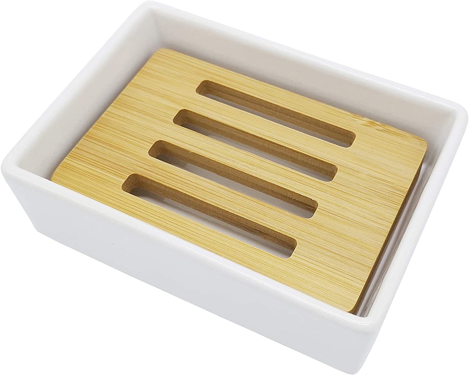 lofekea Ceramic Soap Dish Bamboo Bathroom Sh Limited time Outlet sale feature trial price for Holder and
