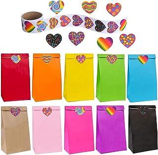 flintronic Sac Cadeau, 50 Pcs Sacs en Papier Kraft de Haute Qualité en 10 Couleurs (+100 Autocollants Mignons), pour Les C...