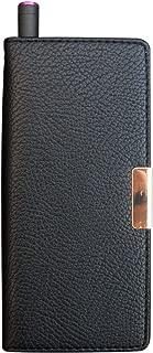 プルームテック ケース 手帳型 コンパクト レザー ブラック ハイクラス スムーズケース ストラップ穴付き 14A-BK