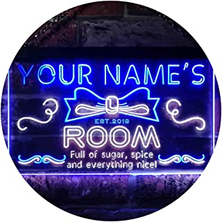 ADV PRO Personalized Your Name EST Year Theme Girl Kid Room Deco Dual Color LED Enseigne Lumineuse Neon Sign Blanc et Bleu 600 x 400mm st6s64-pe1-tm-wb