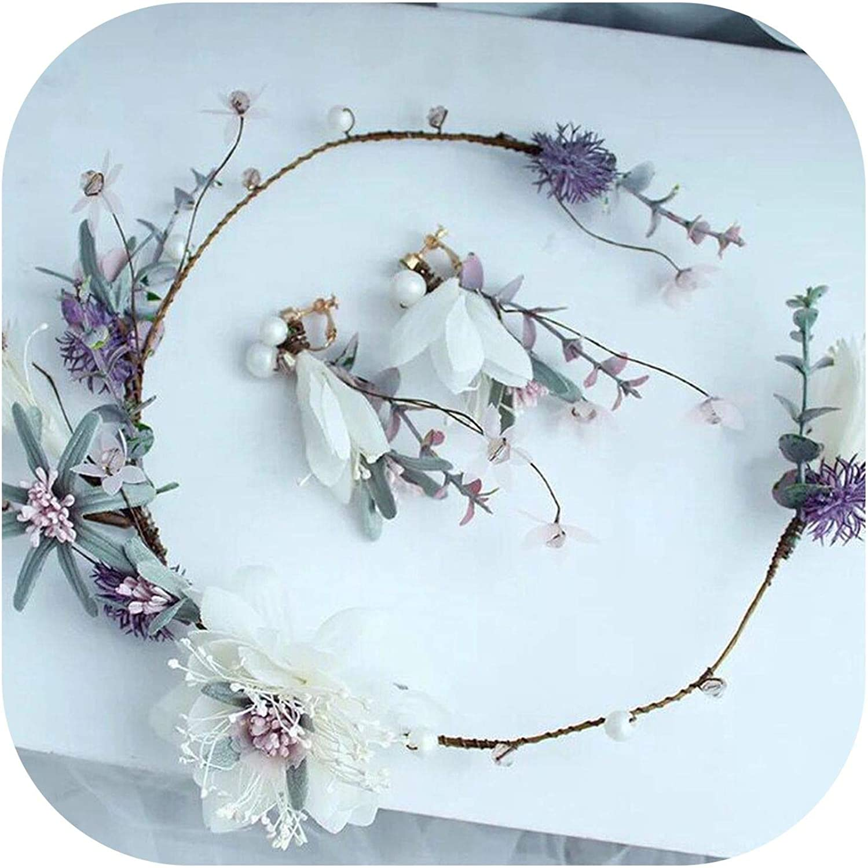 See Something Handmade Fabric Flower Women Headpiece Bridal Hair Wreath with Earrings Wedding Hair Crown Accessories