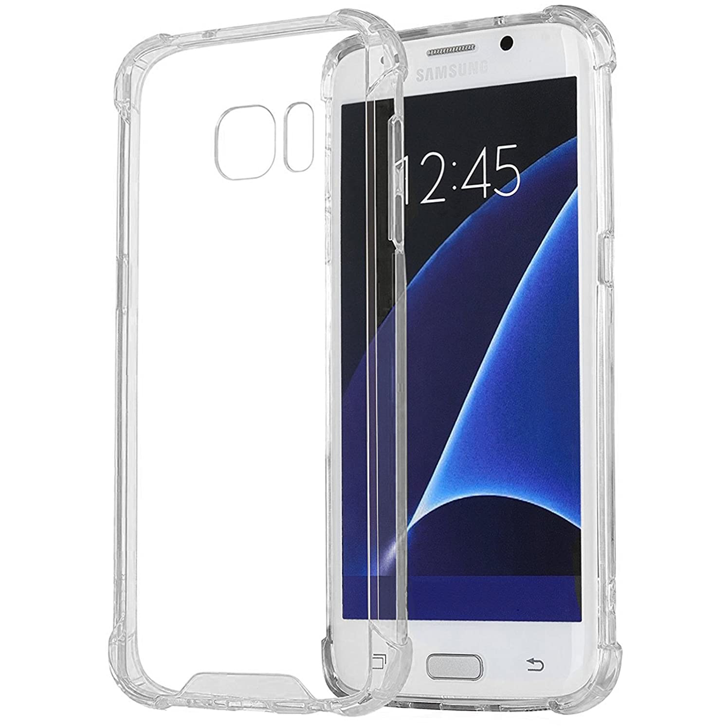 Galaxy S7 Clear Case, Hybrid Bumper Case with TPU/PC and Crystal Ultra Clear Back Hard Panel Cover Scratch Resistant for Samsung Galaxy S7 - Clear