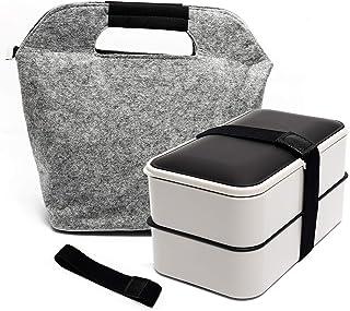 Fun Life Boîte à Lunch 1200ml, Boîte à bento Boîte à Lunch à Deux Compartiments hermétique avec Couverts réutilisables de ...