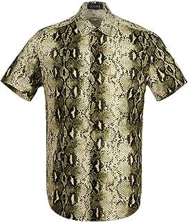Men's Snakeskin Crocodile Skin Print Shirt Disco Casual Button Down Short Sleeve Hawaiian Shirt Modern Shirt