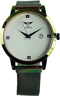 Women's Metal Wrist Watch Date on Dial Analog Quartz Movement with Adjustable Magnetic Mesh Bracelet Strap PI-7583