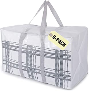Lot de 6 sacs de rangement extra larges très résistants pour déménagement des fournitures de bureau, des vêtements, des ac...