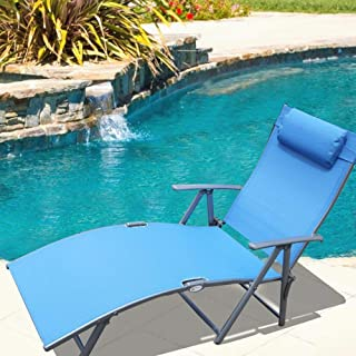 Le Papillon Adjustable Chaise Lounge Chair Recliner Outdoor Patio Pool Folding Lounge Chair - Blue (Renewed)