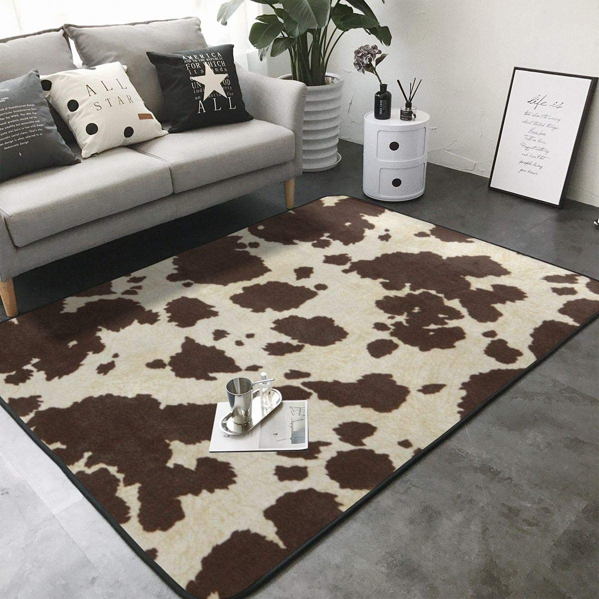 ROCKSKY Cow Print Area Max 41% OFF trust Rugs Rug Sitting-Room Bedroom Livingroom