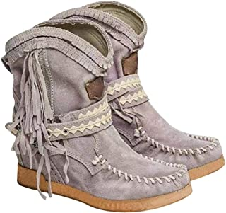 Herewegoo Roma Style - Botas Tobilleras para Mujer (Estilo étnico, con borlas, de Ante, con Flecos, Plisadas)