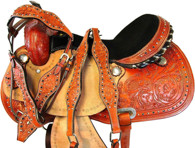 Genuine Leather Horse Trail Show Barrel Racing Arabian Western Saddle 15 16 17