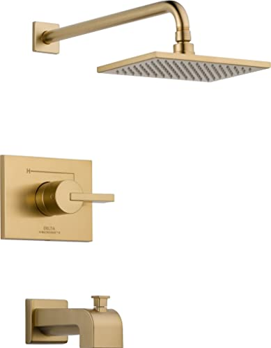 2021 Delta Faucet Vero 14 Series Single-Function Tub and Shower Trim Kit with Single-Spray Touch-Clean lowest Rain Shower Head, Champagne Bronze lowest T14253-CZ , 15.28 x 7.09 x 15.28 Inch outlet sale