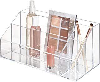 iDesign Clarity Cosmetic Palette Organizer for Vanity or Cabinet to Hold Makeup, Nail Polish, Cosmetic Accessories - 5 Compartments, Clear