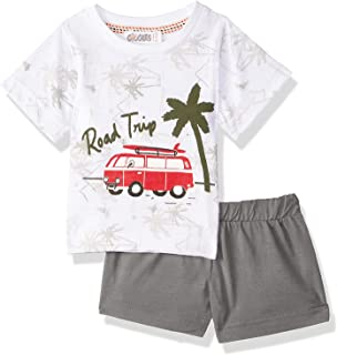 Giggles Printed Round Neck Short Sleeves T-Shirt with Basic Elastic Waist Shorts Pajama Set for Boys 12-18 Months