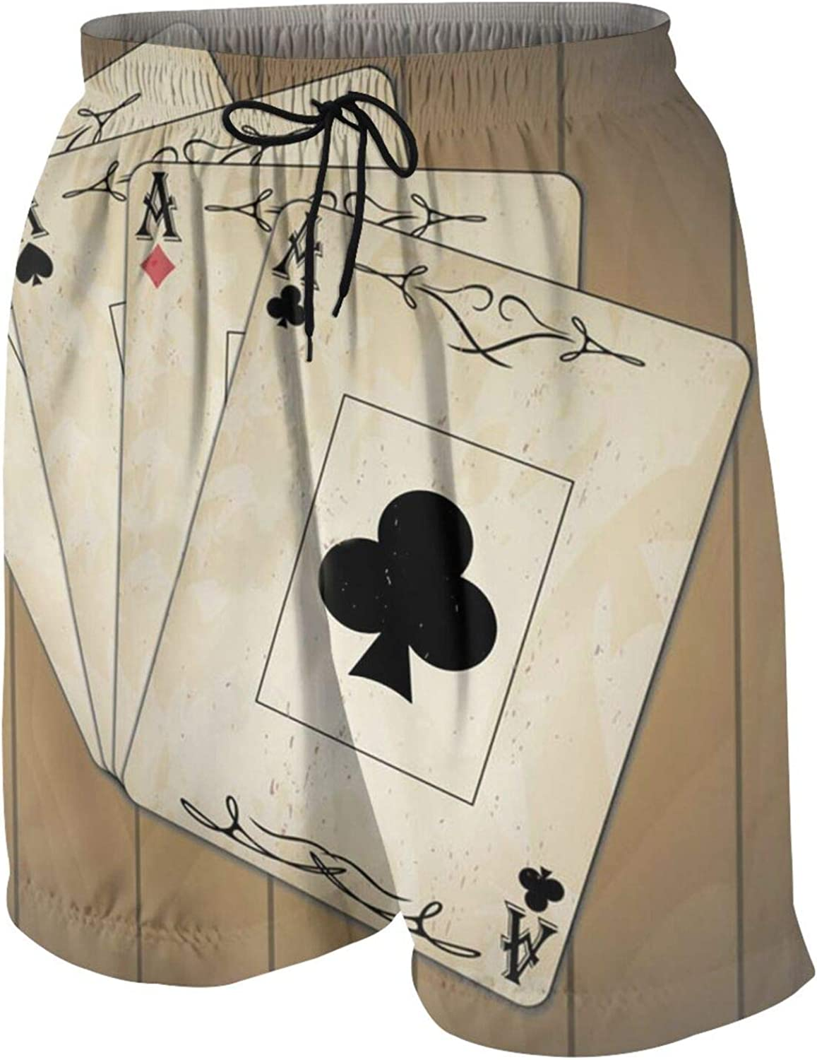 Teen Boys Poker Cards Ace of Spades Hearts Swim Trunks Quick Dry Swimwear Bathing Suit with Mesh Lining