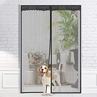 Homein Magnetic Screen Doors Hands Free Black Magnet Mesh Curtain with Full Frame Hook Magnetic Mosquito Net Adhesive Strips Insect Screen Door Fly Curtrtain for Doorway, Fits Door up to 60x89inches