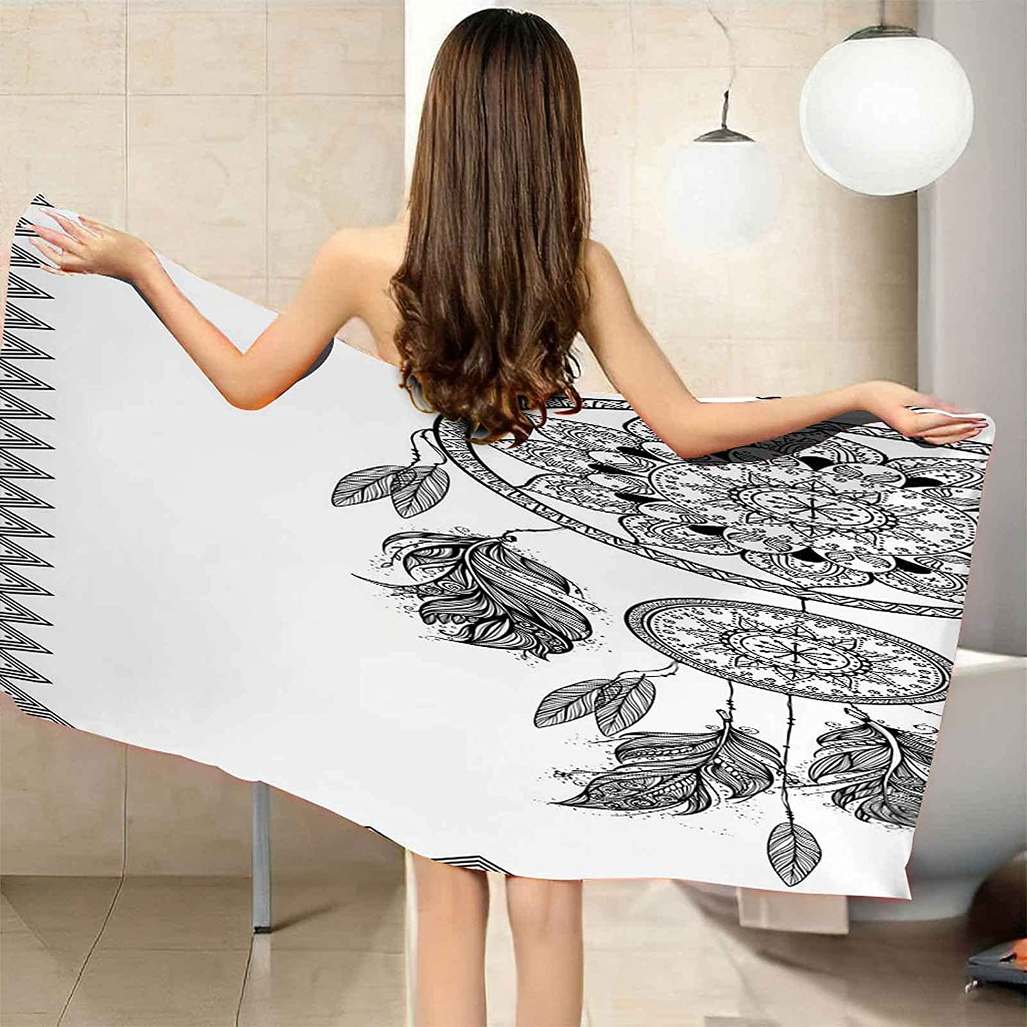 TFXDBZ Microfiber Beach Towels Floral 78.74x39.37 New mail order Feather 55% OFF Print