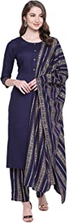 Khushal K Women's Rayon Solid Kurta With Palazzo Dupatta Set