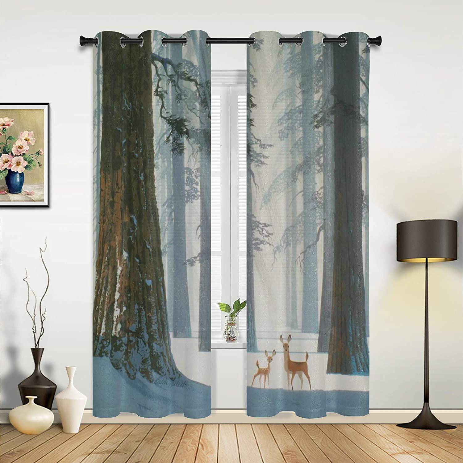 Window Curtains Popular brand in the world Drapes Panels Winter Forest White Snow Cu Bright Clearance SALE! Limited time!